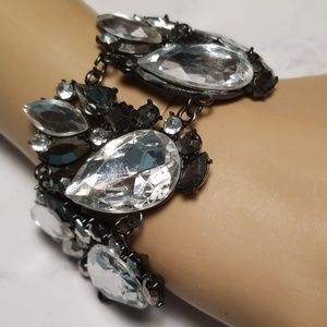 Rhinestone Gunmetal Statement Linked Bracelet